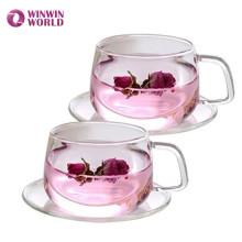 Amazon Hot Selling Custom Wholesale Borosilicate Glass Tea Cups Saucers
