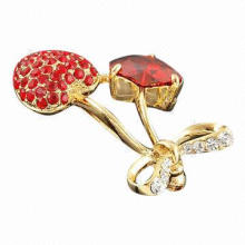 Heart-to-heart Zirconium Brooch/Crystal Clothing Accessory, Eco-friendly, Customized Sizes Welcomed