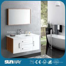 Nueva vanidad de baño de madera contrachapada de superficie de melamina con certificado (SW-1334)