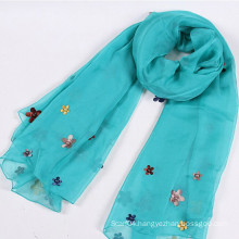 High quality organza lady scarf with fabric flower and beads