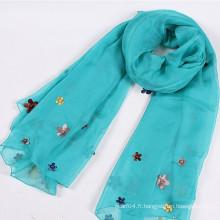 Echarpe en organza haute qualité avec fleur et perles de tissu