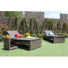 Moderne Poly Rattan Sonnenbank und Sonnenliege für Strand und Resort Outdoor Möbel