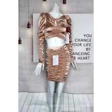 Женский золотой костюм из атласной ткани