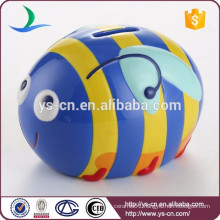 YScb0010-03 Modern blue Ceramic Bee Coin Bank