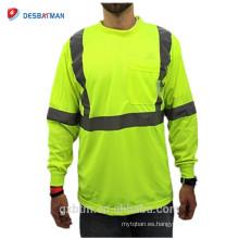 Polo reflexivo de la seguridad del amarillo de la seguridad de los hombres al por mayor de la manga larga de la construcción al por mayor con el bolsillo del pecho