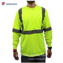 Wholesale Custom Construction High Visibility Long Sleeve Men's Reflective Safety Yellow Polo Shirt with Chest Pocket