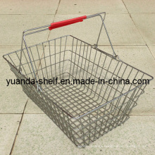 Supermarket Chrome Wire Shopping Basket with Handle
