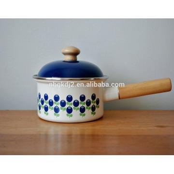 hierro fundido con olla de cacerola de esmalte en polvo con mango de madera