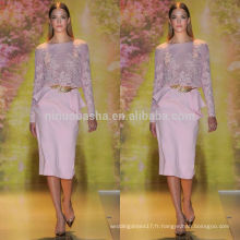 Vogue 2014 Robe de soiree en mousseline de soie en mousseline de soie à manches longues en mousseline de soie Robe de soirée courte en dentelle avec accouplement Peplum NB0625