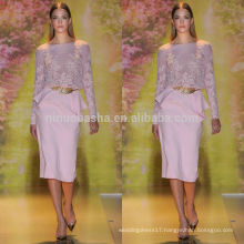 Vogue 2014 Pink Jewel Neck Long Sleeve Mid-Calf Chiffon Sheath Short Lace Evening Dress With Peplum Accent NB0625