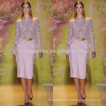 Мода 2014 розовый Jewel шеи длинным рукавом средний-икры шифон оболочка короткие кружева вечернее платье с акцентом Баской NB0625