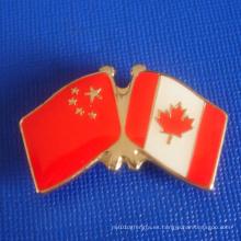 Insignia de la bandera del esmalte, bandera de Chainese y canadiense (GZHY-LP-019)