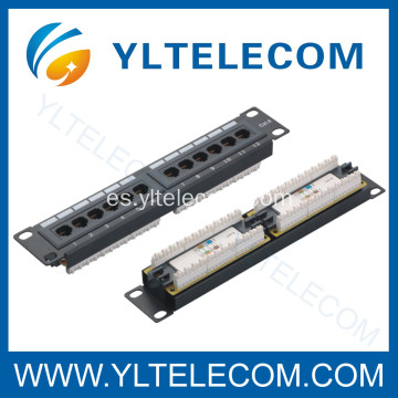 1U 10 pulgadas 12port Panel de parcheo Cat.5e y Cat.6 tipo