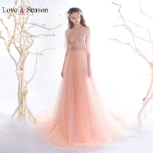 OB96360 cap sleeves natural waist with belt real sample evening dresses organza evening dresses 2017 women