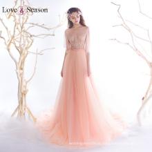 OB96360 mangas tampão cintura natural com cinto vestidos de vestidos verdadeiros vestidos de noite de organza 2017 mulheres