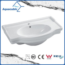 Semi-Recessed Bathroom Ceramic Cabinet Basin Hand Washing Sink (ACB4280)