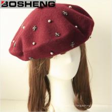 Пользовательские Мода Зимняя красная шерсть Hat Cap Beret с бусами