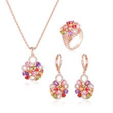 Conjunto de joyería de piedra multicolor de moda para mujer