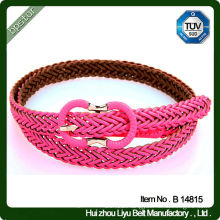 Leather Meterial Double Mesh Braided Belt With Leather Cover Buckle