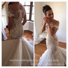 Sexy ver a través de vestidos de novia elegantes Vestido De Noiva Mermaid vestidos de novia de encaje 2017 MW2180