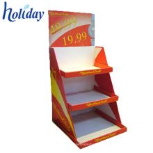 Estante de libro echado a un lado doble portátil, estantes de libro plegables de la biblioteca, estante de libro de la cartulina