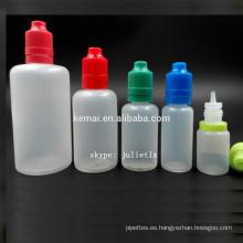 PE e-líquido botella ISO8317 FDA E botellas de jugo líquido suave venta al por mayor PE cig botella precio de fábrica 10 15 20 30 50 60 100 150ml