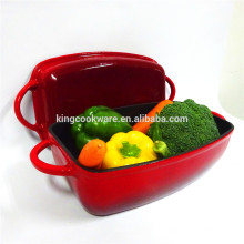 Red rectangular enamel cast iron pot/casserole/dish pan