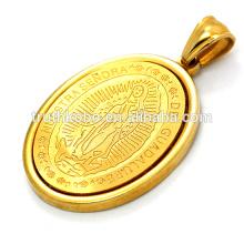 Medalla religiosa chapada en oro, collar colgante del santo Jesús impreso en acero inoxidable.