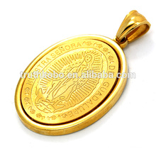 gold plated religious medal pendant necklace holy Jesus printed in stainless steel making