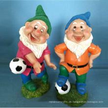 Polyresin Gartendekoration Zwerg Fußball spielen