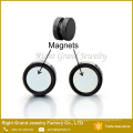 316L Surgical Steel Punk Style Round Black Plated Magnetic Fake Plugs Stud Earrings