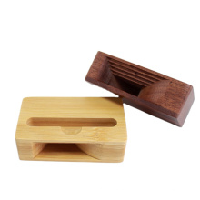 Mini Portable Wood Mobile Phone Amplifie Loud sound Stand Universal Phone Stand Mobile Phone Bracket Bamboo Sound Holder