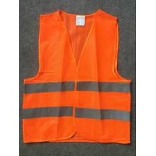 Yj-5007 Orange Red Polyester Reflective Hi Vis Safety Vest with Reflective Tape
