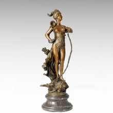 Soldats Figure Statue Hunting Goddess Bronze Sculpture TPE-204