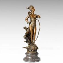 Статуэтка солдатских фигур Охотничья богиня Бронзовая скульптура TPE-204