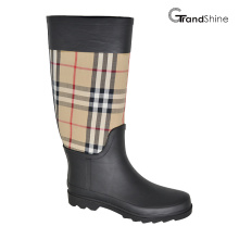 Rainboot alto clássico feminino com Burberry Checks