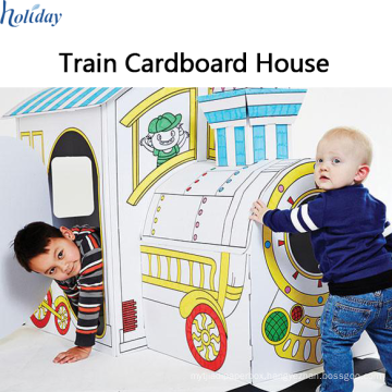 Corrugated Factory Wholesale Children Folding Train Cardboard Playhouse