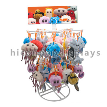 Einfache kundenspezifische Logo-Arbeitsplatte 2-Tier Metalldraht Keychain Hängender Plüsch-Spielzeug-Marionetten-Ausstellungsstandplatz