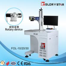Máquina de marcação a laser de fibra com dispositivo giratório Materiais de vidro / plásticos