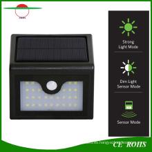 Nueva lámpara de pared solar inalámbrica de la llegada 28LED Luz al aire libre del jardín con el sensor de PIR y el modo oscuro