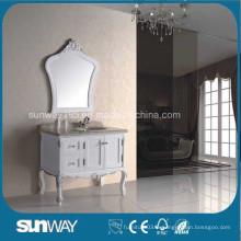 Cabinet de salle de bain antique en style européen avec dessus en marbre (SW-8015)