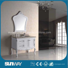 Европейский стиль Античный шкаф для ванной комнаты с мраморным верхом (SW-8015)
