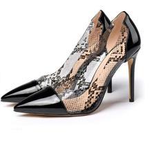 High Heel Transparent Pumps Cap-Toe Stiletto PVC Shoes Pointy Toe Dress Pump