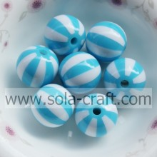 Turquoise Striped Round Watermelon Resin 20MM 500Pcs Solid  Jewelry Necklace Latest Designs Wholesale Gemstone Bead