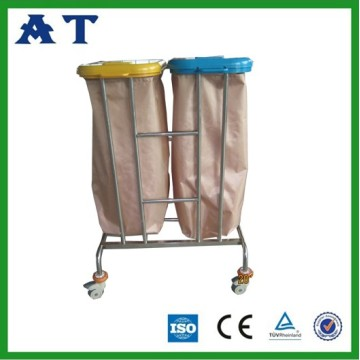 chariot à déchets hospitaliers en acier inoxydable
