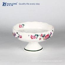 Blanco patrón floral de cerámica tazón de hueso china personalizada helado placa