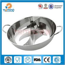Pot chaud d'asie d'acier inoxydable / potage de soupe de deux saveurs / plat de frottement
