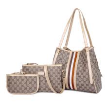 Custom trendy lady felt hand bag with leather