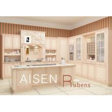 15-25 jours livraison rapide armoires de cuisine à membrane en PVC massif en bois massif de haute qualité avec colonne