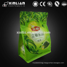foil lined green tea bag/ziplock food bag with bottom gusset